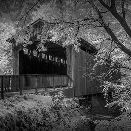Randall Nyhof - Infrared Black and White Photograph of the Covered Bridge on the Thornapple River in Ada
