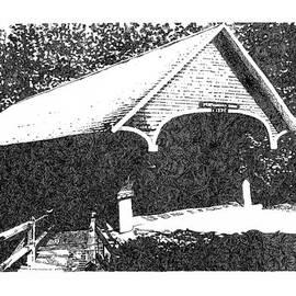 Emily Wegener - INKED 2  A Black and White New England Covered Bridge Art Print