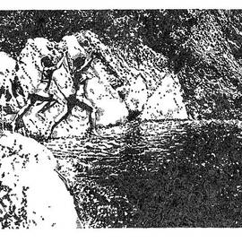 Emily Wegener - INKED 3  A black and white art print of a day at a swimming hole in Upstate NY