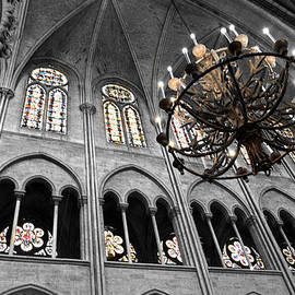 Denise Dube - Inside Notre Dame Chandelier and Stain Glass Windows