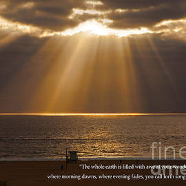 Jerry Cowart - Inspirational Sun Rays Over Calm Ocean Clouds Bible Verse Photograph