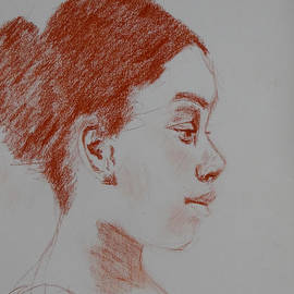 Carol Berning - Intent Conte Sketch