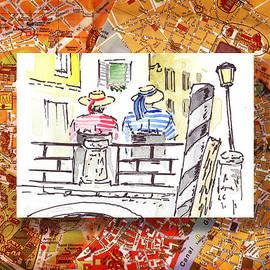 Irina Sztukowski - Italy Sketches Venice Two Gondoliers