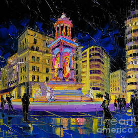 Mona Edulesco - Jacobins Fountain During The Festival Of Lights In Lyon France