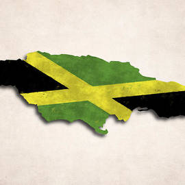 World Art Prints And Designs - Jamaica Map Art with Flag Design