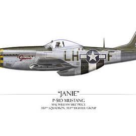 Craig Tinder - Janie P-51D Mustang - White Background