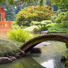 Gary Heller - Japanese Garden - Footbridge over the Pond - Gary Heller