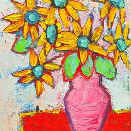 Ana Maria Edulescu - Joyful Little Sunflowers In Pink Vase - Abstract Flowers