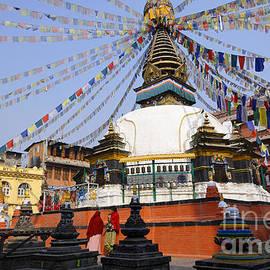 Robert Preston - Kathe Simbhu Stupa and prayer flags in Kathmandu Nepal