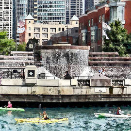 Susan Savad - Kayaking on the Chicago River Near Centennial Fountain