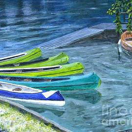 Timothy Hacker - Kayaks In Slovenia Painting