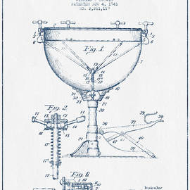 Aged Pixel - Kettle Drum Drum Patent Drawing from 1941  - Blue Ink