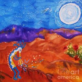 Ellen Levinson - Kokopelli Playing To The Moon Square