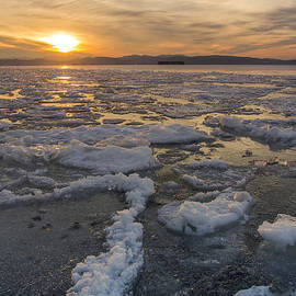 Andy Gimino - Lake Champlain ice formations at sunset Burlington Vermont