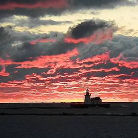 Nancy Spirakus - Lake Erie Lighthouse and Sunset