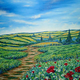 Drinka Mercep - Landscape Road Grass Poppies and Daisies