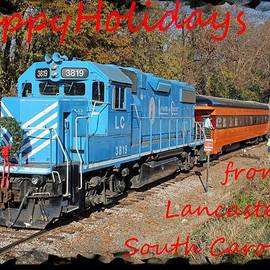 Joseph C Hinson Photography - Santa Train Greeting Card Holidays Red Font