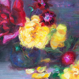 Talya Johnson - Lemon and Magenta - flowers and radish