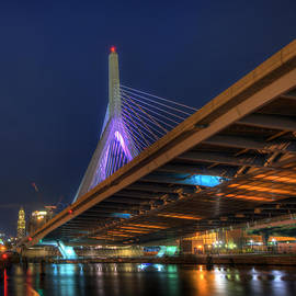 Joann Vitali - Leonard P Zakim Bridge at Night - Boston