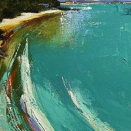 Chris Hobel - Little Cove Noosa Heads abstract palette knife seascape painting