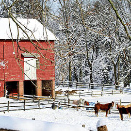 Geraldine Scull   - Little red farm in snow