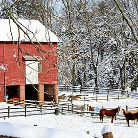 Geraldine Scull   - Little red farm in snow