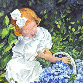 Carol Wisniewski - Little Sophia and Her Basket of Hydrangeas