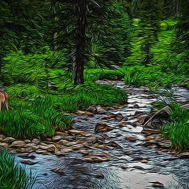 Ernie Echols - Living Water with Deer Digital Art