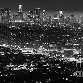 Bob Christopher - Los Angeles Skyline at Night Monochrome