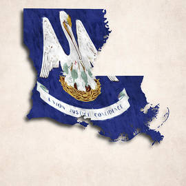 World Art Prints And Designs - Louisiana Map Art with Flag Design