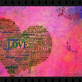 Eti Reid - Love is poster on pink with vintage film frame