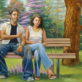 Dominique Amendola - Lovers on a bench