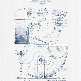 Aged Pixel - Ludwig Foot Pedal Patent Drawing from 1909 - Blue Ink