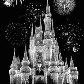 Thomas Woolworth - Magic Kingdom Castle in Black and White with Fireworks Walt Disney World