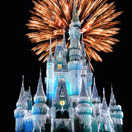 Thomas Woolworth - Magic Kingdom Castle In Frosty Light Blue with Fireworks 02
