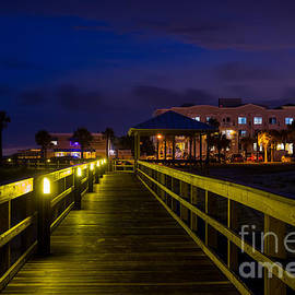 Dawna  Moore Photography - Main Beach Boardwalk at Night