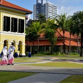 Imran Ahmed - Malay students walk in Kampong Glam Singapore
