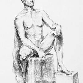 Irina Sztukowski - Male Model Seated Charcoal Study