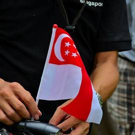 Imran Ahmed - Man plants Singapore flag on bicycle