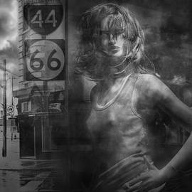Randall Nyhof - Mannequin in a Window Display with 44 and 66 Road Sign