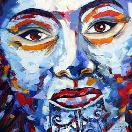 Lisa Elley - Maori Girl by Lisa Elley. Palette knife painting in oil