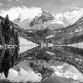 Gregory Ballos - Maroon Bells BW Covered In Snow - Aspen Colorado