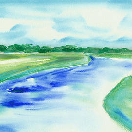 Frank Bright - Marsh Abstract Watercolor by Frank Bright