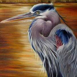 Phyllis Beiser - Marsh Sunset And A Blue Heron