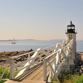 Marianne Campolongo - Marshall Point Lighthouse Port Clyde Maine with sailboat