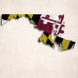 World Art Prints And Designs - Maryland Map Art with Flag Design