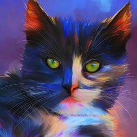 Michelle Wrighton - Meesha Colorful Cat Portrait