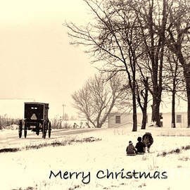 David Arment - Merry Christmas Amish Kids at Play