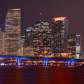 Jon Holiday - Miami Skyline at Night Panorama Color