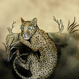 Gerald Griffin - Middle Leopard Resting On Log